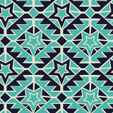 Tribal turquoise and navy geometric tribal seamless pattern Stock Image