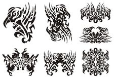 Tribal unusual black and white eagle symbols Royalty Free Stock Image