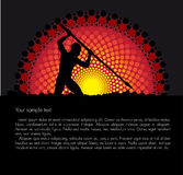 Tribal vector background. Tribal sunset vector background with a silhouette of a hunter Royalty Free Stock Images