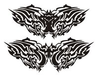 Tribal vector bat in the form of a butterfly Royalty Free Stock Image