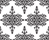 Tribal vector black and white seamless pattern Stock Photos