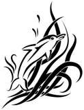 Dolphin black tribal tattoo on white background stock illustration