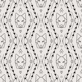 Vector Tribal Seamless Pattern with Wolf Stock Image