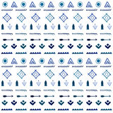 Tribal vector seamless pattern. Blue ethnic background Royalty Free Stock Photo