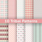 10 Tribal vector seamless patterns (tiling). Set of aztec geometric ornaments Royalty Free Stock Photo