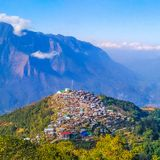 Tribal village in the hills royalty free stock image