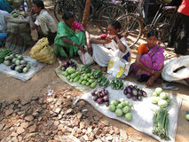 Tribal villagers sell vegetables Royalty Free Stock Photo