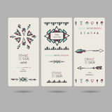 Tribal vintage ethnic banners or invitation cards. Set of tribal vintage ethnic banners or invitation cards Stock Image
