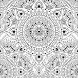 Tribal vintage ethnic seamless pattern. With mandalas. Black and white oriental tiled ornament, boho gypsy style. Vector background royalty free illustration