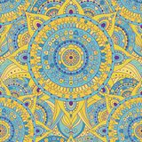 Tribal vintage ethnic seamless pattern. With mandalas. Blue and yellow oriental tiled ornament, boho gypsy style. Vector background royalty free illustration