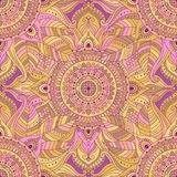 Tribal vintage ethnic seamless pattern. With floral mandala. Pink and yellow oriental ornament, boho gypsy style. Vector background stock illustration