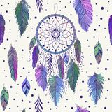 Colorful dreamcatchers and feathers seamless pattern. Colorful hand drawn dreamcatchers and feathers, and leaves, seamless pattern in boho ethnic style, vector stock illustration