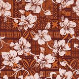 Tribal vintage Hawaiian hibiscus flowers wallpaper. Hawaii abstract grunge floral vector seamless pattern Stock Photography