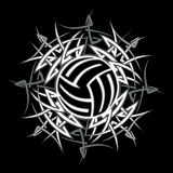 Tribal Volleyball vector Logo. Tribal Volleyball Design Vector Logo Stock Photo