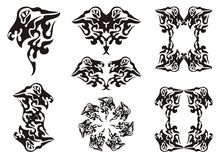 Tribal wavy dragon set. Black on the white Stock Image