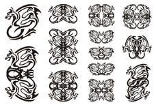 Tribal winged dragon symbols Stock Image