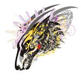 Tribal wolf head splashes with feathers and floral elements Royalty Free Stock Photos