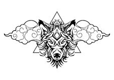 Tribal wolf head tattoo decorate with oriental cloud and geometric triangle design for  tattoo. With white background Stock Photo