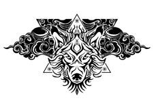 Tribal wolf head tattoo decorate with oriental cloud and geometric triangle design for  tattoo. With white background Royalty Free Stock Photos