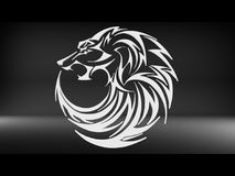 Tribal wolf head tattoo design. 3D render illustration of a round tribal wolf head tattoo design. The composition is isolated on a black background Royalty Free Stock Photo