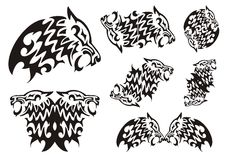 Tribal wolf symbols. Black on the white Royalty Free Stock Image