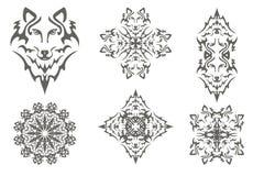 Tribal wolf symbols Stock Photo