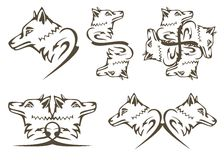 Tribal wolf symbols Stock Image