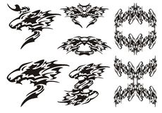 Tribal wolf symbols tattoos and wolves frames Royalty Free Stock Photography