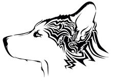 Tribal wolf tattoo Stock Images