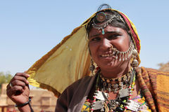 Tribal woman dressed up in traditional Rajasthani costume Stock Photo