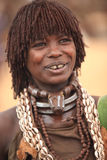 Tribal woman in the Omo valley in Ethiopia, Africa. Hamar woman in the Omo valley in Ethiopia, Africa Royalty Free Stock Photo
