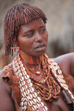 Tribal woman in the Omo valley in Ethiopia, Africa. Hamar woman in the Omo valley in Ethiopia, Africa Royalty Free Stock Image