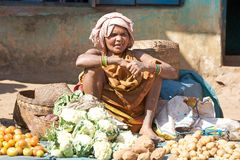 Tribal woman at the Onokudelli market Royalty Free Stock Photos