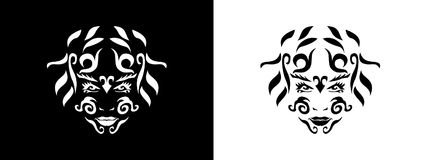 Tribal woman portrait, Woman portait in tribal style illustration in black and white. Woman portrait poster in tattoo style Royalty Free Stock Photo