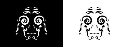 Tribal woman portrait, Woman portait in tribal style illustration in black and white. Woman portrait poster in tattoo style Stock Photos
