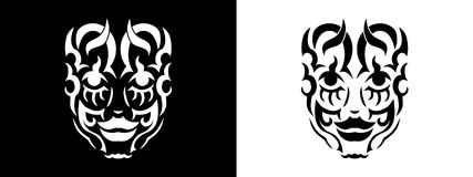 Tribal woman portrait, Woman portait in tribal style illustration in black and white. Woman portrait poster in tattoo style Royalty Free Stock Image
