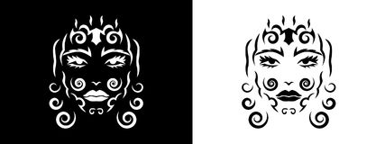 Tribal woman portrait, Woman portait in tribal style illustration in black and white. Woman portrait poster in tattoo style Stock Photography