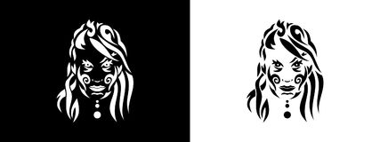 Tribal woman portrait, Woman portait in tribal style illustration in black and white. Woman portrait poster in tattoo style Royalty Free Stock Photos