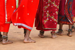 Tribal women dancing feet Royalty Free Stock Photography