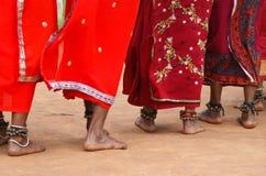Tribal women dancing feet. Feet of Indian tribal women decorated with bells dancing Dimsa dance Royalty Free Stock Photography