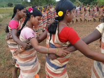 Tribal women link arms Royalty Free Stock Photo