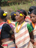Tribal women link arms for Gdaba harvest dance Stock Photography
