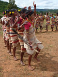 Tribal women link arms for Gdaba harvest dance Royalty Free Stock Photography