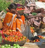 Tribal women at the market Stock Photo