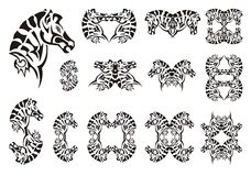 Tribal zebra head symbols Royalty Free Stock Images