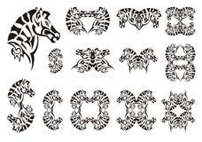 Tribal zebra head symbols Royalty Free Stock Images