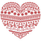 Tribal zentangle Aztec heart shape with floral elements in hand drawing lace ornamental style in red and white style Stock Images