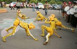 Tribals выполняет танец тигра puli vesham/ Стоковые Изображения