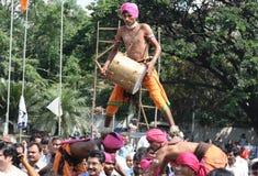 Tribals perform dappu dance Stock Photo