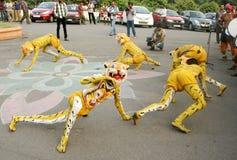 Tribals utför tigerdans för puli vesham/ Royaltyfri Fotografi